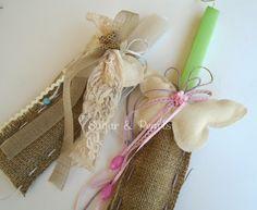 Λαμπάδες 2015 Burlap, Reusable Tote Bags, Easter, Candles, Ideas, Hessian Fabric, Easter Activities, Candy, Candle Sticks