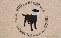 Funny Animal Fun & Games Indoor/Outdoor Dog in Cone Doormat. $19.99 Only.