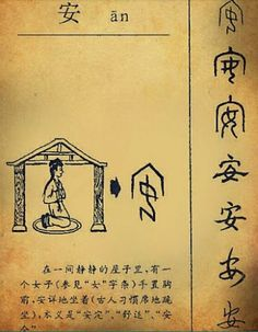 "The origin of Chinese character ""安"" (peace, calm, stability) and its script evolution.  From the top to the bottom: Oracle Bone script, Inscription script, Small Seal script, Official script, Regular script (KaiTi), Cursive script, Running script (handwriting)"