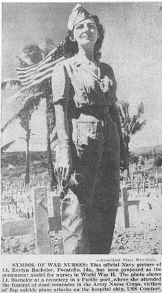 Photo showing Nurse Lt. Evelyn Bachelor standing in an overseas cemetery where she attended the funeral of dead comrades in the Army Nurses Corps, victims of Jap suicide plane attacks on the hospital ship, USS Comfort.