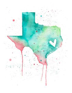 5x7  Texas Love by poppyandpinecone on Etsy, $12.00 Would print in grey and yellow/gold