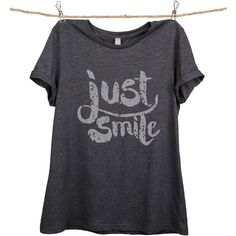 Thread Tank Charcoal 'Just Smile' Relaxed Tee (23 AUD) ❤ liked on Polyvore featuring tops and t-shirts