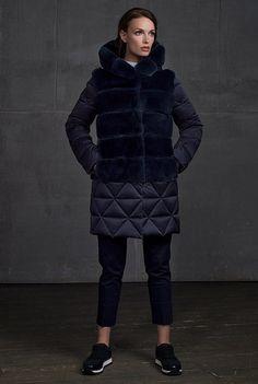 Женская коллекция. Стеганое пальто с мехом кролика. Laplandia For Women