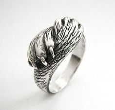 Paw to Paw  Silver Cat Ring  Cat Lover Wedding by Ricksonjewellery, $135.00