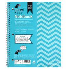 1 Subject Spiral Notebook, College Ruled - Aqua Chevron