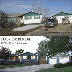 1970's Ranch Bungalow Exterior Makeover, complete remodel. Before and After Curb appeal. Domestic Design