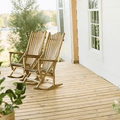 Front porch with Natural Joanna Gaines rocking chairs