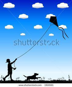 boy flying kite silhouette - Google Search