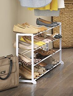White Shoe Holder 20 Pair Small Space Floor Shoe Rack Organizers Home Household  #Whitmor