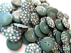 forest green polka dot buttons