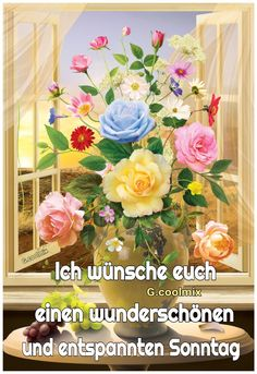 Tuesday, Floral Wreath, German, Collage, Morning Sayings, Good Morning Images, Have A Good Weekend, Good Day, Beautiful Flowers Pictures