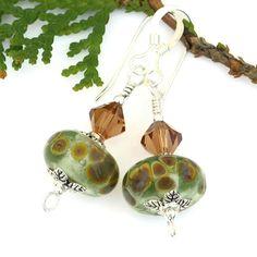 Light Green and Brown Lampwork Earrings, Swarovski Crystals Pewter Sterling Handmade Jewelry @shadowdog