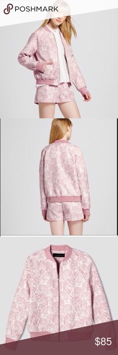Victoria Beckham for Target bomber jacket Brand new with tag. Light pink jacquard bomber jacket. Victoria Beckham Jackets & Coats