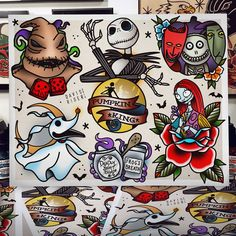 Nightmare Before Christmas flash sheet on stipple watercolor paper. Shipped in poster tube. Flash Art Tattoos, Tattoo Flash Sheet, Body Art Tattoos, Leg Tattoos, Sleeve Tattoos, Tattoos Skull, Disney Tattoos, Cartoon Tattoos, 1 Tattoo