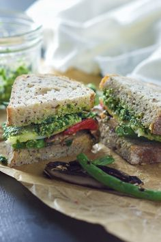 Farmers Market Roasted Vegetable Sandwich with Skinny Pesto @FoodBlogs