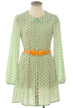 Retro Memorabilia Polka Dot Peter Pan Collar Belted Dress in Minty