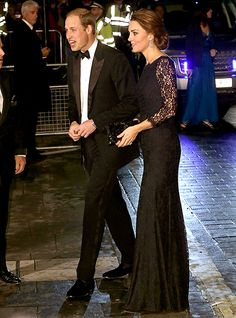 Pregnant Kate Middleton Glows in a Lace Gown, Updo Hairstyle on the Red Carpet �?? And Look at Her Growing Baby Bump!