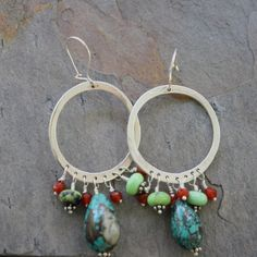 Hammered Hoops Sterling Silver Turquoise by LoreleyJewelry on Etsy