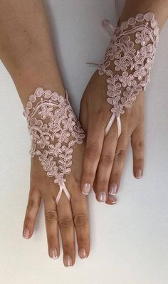 EXPRESS SHIPPING Wedding gloves Pink Lace bridal gloves lace gloves fingerless gloves french lace gloves