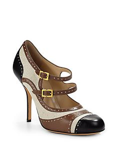 Moschino Cheap And Chic Leather & Canvas Pumps