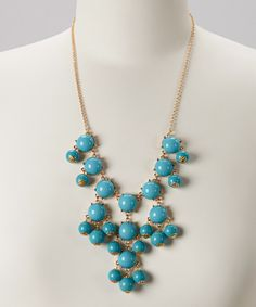 Take a look at this Turquoise & Gold Bubble Necklace on zulily today!