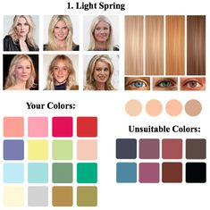 """Light Spring Color Type: Intermediate between the color type """"spring"""" and """"summer"""". Appearance is lowly contrasting. Season Color Analysis 