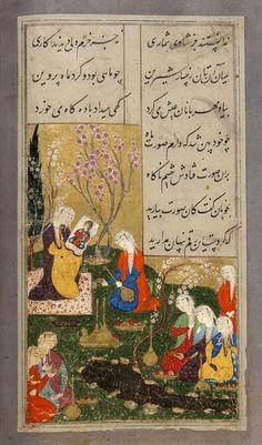 نمودن شاپور صورت خسرو را بار اول نظامی، 941 هجری قمری، اصفهان خمسه برگی از خسرو و شیرین نه دل میداد ازو دل بر گرفتن نه میشایستش اندر بر گرفتن بهر دیداری ازوی مست میشد به هر جامی که خورد از دست میشد NIZAMI (D. 1209 AD): KHUSRAW WA SHIRIN SIGNED SHAH NAZAR AL-KATIB AL-DAYLAMI, SAFAVID IRAN, DATED END OF RABI' I AH 941/OCTOBER 1534 AD
