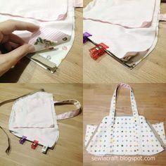 Sewla: Little cute handbag - malas - Bag Patterns To Sew, Sewing Patterns Free, Free Sewing, Sewing Tutorials, Clutch Bag Pattern, Leather Bag Pattern, Diy Handbag, Handbag Tutorial, Diy Purse