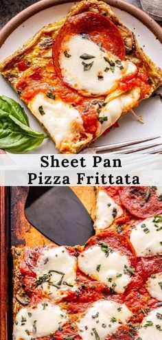 This sheet pan pizza frittata is perfect for mornings when you're craving pizza or nights when you want brinner! Full of sautéed peppers, mushrooms and onions and topped with marinara sauce, mozzarella cheese and pepperoni. #frittata #pizza #healthybreakfast #lowcarbrecipes #eggs #lowcarbpizza #healthydinner #easymeals #mealprep #sheetpandinners Best Healthy Dinner Recipes, Veggie Recipes, Brunch Recipes, Breakfast Recipes, Pizza Recipes, Savory Breakfast, Brunch Ideas, Dinner Ideas, Easy Weeknight Meals