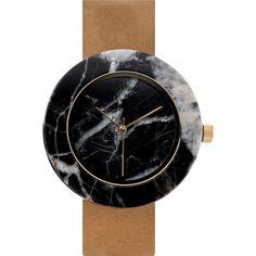 Analog Mason Genuine Black Marble Circular Watch | Tan Strap