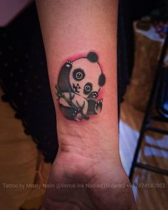 Black Ink Tattoos, Small Tattoos, Cool Tattoos, Delicate Feminine Tattoos, Panda Bear Tattoos, Sleeping Panda, Tattoo Ideas, Tattoo Designs, Traditional Tattoo Design