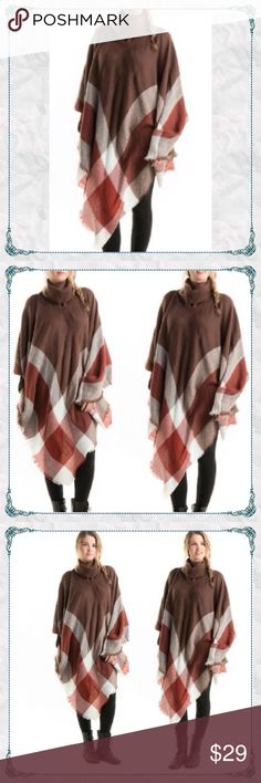 🔥BOUTIQUE CLOSING - Super Soft Poncho w Cowl Neck Cozy Plaid Poncho w/ Turtle/Cowl Neck                        🔸100% soft acrylic                                                🔸treat yourself! -bc soft cozy comfort in cold weather is important                                               🔸turtle neck is comfortable and not too small. It's nice a roomy and does not cling too close to neck🤗. 🔥PRICED ONLY TO RECOUP COST - Bundle to save an additional 10% - Otherwise price is FIRM…