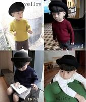 Winter pure colour jacquard knit baby sweater