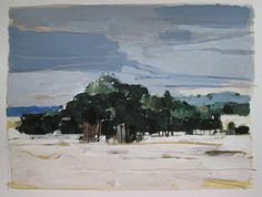 February Stand Original Landscape Painting on Paper by Paintbox, $60.00