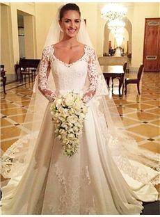 V-Neck A-line Court Natural Floor-Length Spring All Sizes Wedding Dress