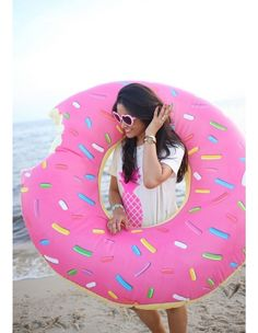 The Gigantic Donut Pool Float - Strawberry Frosted Doughnut