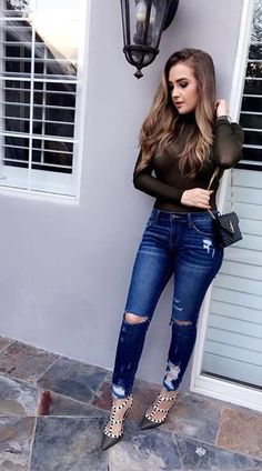 Spring Summer Fashion, Spring Outfits, Autumn Fashion, Sexy Jeans, Skinny Jeans, Casual Outfits, Fashion Outfits, Womens Fashion, Blue Jean Outfits