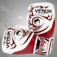 "VENUM ""TRIBAL"" BOXING GLOVES - RED & WHITE - NAPPA LEATHER"