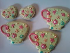 Tea Cups and Hearts Decorated Sugar Cookies by I Am the Cookie Lady