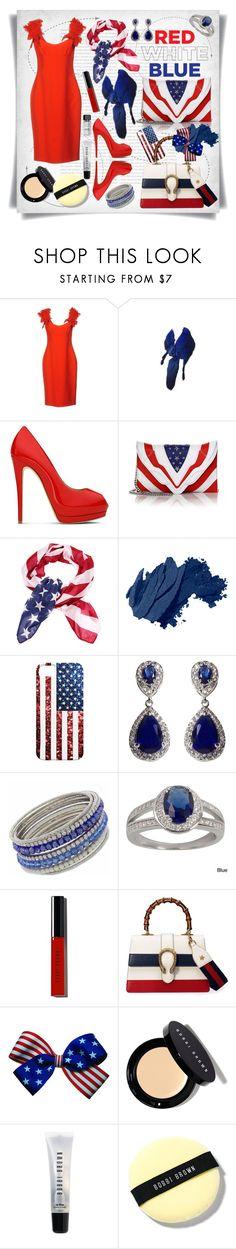 """Red, White & Blue: Celebrate the 4th!"" by imbeauty ❤ liked on Polyvore featuring Oris, Giambattista Valli, Giuseppe Zanotti, Elena Ghisellini, Bobbi Brown Cosmetics, NEXTE Jewelry, Gucci and fourthjuly"
