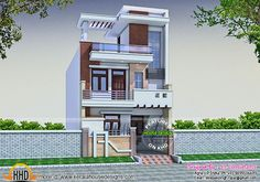 This is a small plot house design in 945 square feet of land. 2 bedrooms placed on the ground floor and 3 on the first floor. Bungalow Haus Design, Duplex House Design, Duplex House Plans, House Front Design, Small House Design, New House Plans, Modern House Design, Independent House, Modern Bungalow Exterior