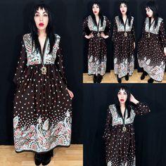 Vintage 70s Dela-Ann Creation Dark Brown Paisley Print Empire Waist Long Poet Sleeve Bohemian Folk Loose Fitted Maxi Dress M // L $70.00  https://www.etsy.com/listing/506789436/vintage-70s-dela-ann-creation-dark-brown