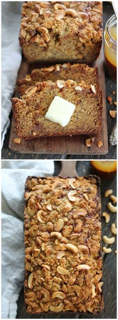 Salted Caramel Cashew Banana Bread Recipe - The BEST banana bread you will ever eat! You HAVE to try this recipe!