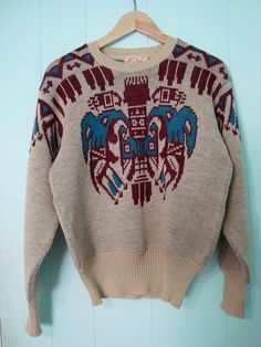 Amazing condition, 1940s Totem Pole Cable Knit Sweater    Ox Blood - Teal - Off White colors - Original Label -