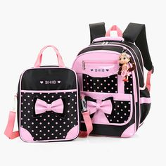 (39.38$)  Watch now  - 2Pcs Children school bags set PU leather kids satchels pink backpack princess gift bags schoolbag for girls orthopedic backpack