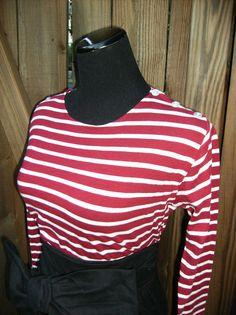 Organic Cotton Striped Shirt Red Striped Shirt long by jennipink
