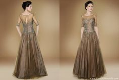 bronze tulle dress see-through-sleeves