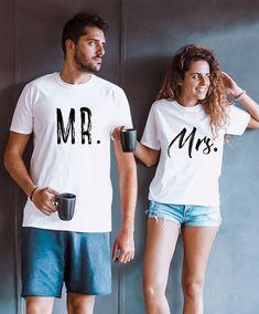 Matching Shirts, Matching Outfits, Matching Couples, T Shirt Hipster, Cute Couple Shirts, Mrs Shirt, Shirt Men, Honeymoon Outfits, Honeymoon Clothes