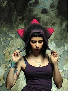 Unique handmade felt hats  black purple dark pink door Feltthink, $70.00