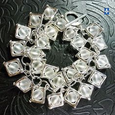 ♥ Astonishing Clear Frosted Quartz Plated Silver Square Frames Bracelet